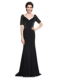 cheap -Mermaid / Trumpet V-neck Sweep / Brush Train Jersey Mother of the Bride Dress with Beading Ruching by LAN TING BRIDE®