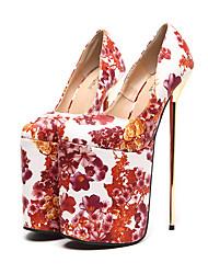 preiswerte -Damen Schuhe Kunstleder Frühling Sommer Komfort Neuheit Gladiator Pumps High Heels Stöckelabsatz Kariert für Kleid Party & Festivität
