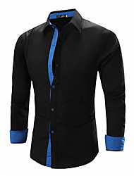 cheap -Men's Solid Work / Formal Shirt,Linen Long Sleeve Black / Blue / White