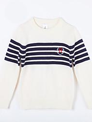preiswerte -Pullover & Cardigan Alltag Gestreift Baumwolle Herbst Weiß
