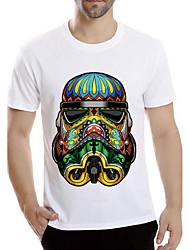 男性用 プリント カジュアル Tシャツ,半袖 ポリエステル,ホワイト