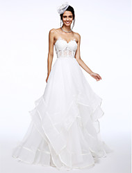 A-Line Sweetheart Court Train Organza Wedding Dress with Appliques by LAN TING BRIDE®