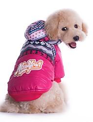 baratos -Gato / Cachorro Casacos / Camisola com Capuz Roupas para Cães Floral / Botânico Vermelho / Azul Veludo Cotelê / Algodão Ocasiões Especiais Para animais de estimação Homens / Mulheres Esportes