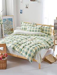 Bedtoppings Comforter Duvet Quilt Cover 4pcs Set Queen Size Flat Sheet Pillowcase Cheque Pattern Prints Microfiber