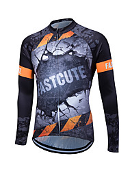 Fastcute Maglia da ciclismo Per uomo Manica lunga Bicicletta Maglietta/Maglia Traspirante Materiali leggeri Tasca posteriore Comodo