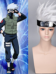 Hokage Wig with Hair Accessories Free Japanese Short Silver White Shaggy Naruto Hatake Kakashi Cosplay Wigs