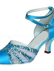 Women's Latin / Modern Dance Shoes Satin / Sparkling Glitter Satin  Blue Sandals / Heels Heel Customizable