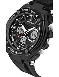 Недорогие -SANDA Муж. Спортивные часы Смарт Часы Наручные часы Цифровой Японский кварц силиконовый Черный / Серебристый металл 30 m Защита от влаги Секундомер LED Аналого-цифровые Роскошь На каждый день Мода -