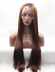 Fashion Long Straight Synthetic Lace Front Wigs Glueless Brown Color For Afro Women Wig
