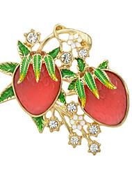 mode rhinestone emalje jordbær form store brocher