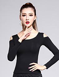 cheap -Latin Dance Tops Women's Training Modal 1 Piece Black Latin Dance Long Sleeve Natural Top