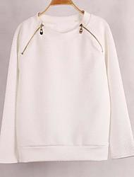 preiswerte -Damen Pullover Lässig/Alltäglich Einfach Solide Rundhalsausschnitt Unelastisch Baumwolle Kunst-Pelz Langarm Herbst Winter