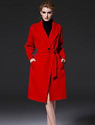 médio das mulheres frmz formais simples coatsolid entalhe lapela manga longa inverno vermelho de lã / poliéster