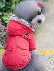 baratos -Gato Cachorro Casacos Camisola com Capuz Roupas para Cães Sólido Vermelho Azul Algodão Ocasiões Especiais Para animais de estimação