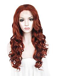 Недорогие -Синтетические кружевные передние парики Волнистый Искусственные волосы Красный Парик Жен. Лента спереди Темно-рыжий