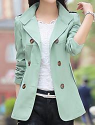 Mulheres Casaco Trench Outono,Sólido Azul / Vermelho / Verde / Amarelo Poliéster Colarinho Chinês-Manga Longa Fina