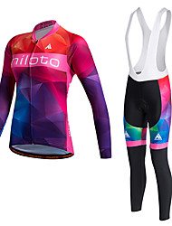 Miloto Cycling Jersey with Bib Tights Women's Unisex Long Sleeves Bike Tights Bib Tights Pants/Trousers/Overtrousers Tracksuit Jersey