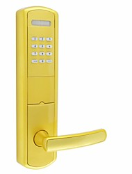 Electronic Smart Combination Door Lock Opens by Password Mechanical Key or Card for Exterior Door Gold