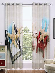Grommet Top Two Panels Curtain Modern , Print Nature & Landscapes Living Room Polyester Material Sheer Curtains Shades Home Decoration