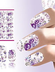 cheap -Water Transfer Nails Sticker Romantic Gray And Purple Flowers Design Nails Foil Sticker Decor Decals