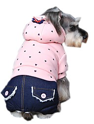 cheap -Dog Hoodie Jumpsuit Dog Clothes Casual/Daily Fashion Polka Dots Purple Green Pink Costume For Pets