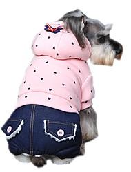 economico -Cane Felpe con cappuccio Tuta Abbigliamento per cani Casual Di tendenza A pois Viola Verde Rosa Costume Per animali domestici