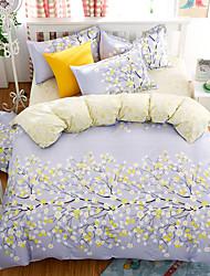 Bedtoppings Comforter Duvet Quilt Cover 4pcs Set Queen Size Flat Sheet Pillowcase Leaf Prints Microfiber