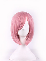 cheap -Synthetic Wig Straight Bob Haircut With Bangs Side Part Pink Women's Carnival Wig Halloween Wig Cosplay Wig Short Synthetic Hair