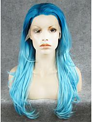 Недорогие -Синтетические кружевные передние парики Естественные волны Искусственные волосы Синий Парик Жен. Лента спереди Светло-синий