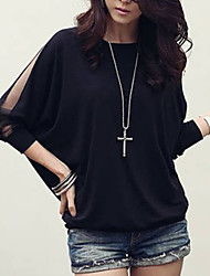cheap -Women's Plus Size Batwing Sleeve Cotton Loose Blouse - Solid Colored