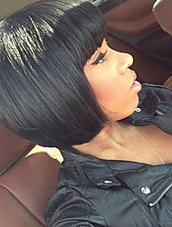 cheap -Brazilian Virgin Straight Human Hair Bob Wig Unprocessed Short Human Hair Wigs With Bang For Black Women
