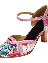 """preiswerte -Damen Latin Modern Glitzer Satin Sandalen Absätze Innen Aufführung Verschlussschnalle Glitter Blume Maßgefertigter Absatz Rosa 1 """"- 1"""