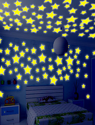 100pcs Wall Decals Glow In The Dark Nursery Room Color Stars Luminous Fluorescent Wall Stickers