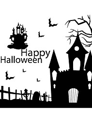 cheap -New Halloween Haunted House Wall Stickers Home Decor Living Room Creative DIY Art Decal Removable Wall Sticker