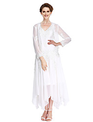 cheap -A-Line V-neck Asymmetrical Chiffon Mother of the Bride Dress with Beading Appliques by LAN TING BRIDE®
