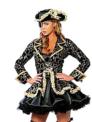cheap -Pirate Cosplay Costumes Party Costume Female Halloween Carnival Festival / Holiday Halloween Costumes Black Print