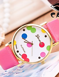 cheap -Women's Wrist watch Fashion Watch Quartz / Hot Sale PU Band Dot Black White Blue Red Brown Pink Purple Yellow Rose