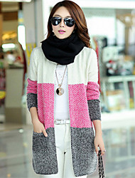 Women's Casual/Daily Simple / Cute Long CardiganColor Block Cowl Long Sleeve Polyester Fall / Winter