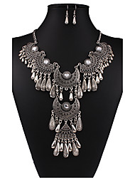 cheap -Women's Cute Jewelry Set Earrings / Necklace - Vintage / Party / Work White / Black Jewelry Set / Necklace / Earrings For Wedding / Party