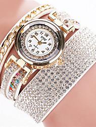 baratos -Mulheres Bracele Relógio Relógio Casual Couro Banda Rígida Preta / Branco / Prata / Aço Inoxidável