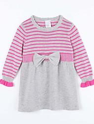 preiswerte -Kleid Pullover & Cardigan Alltag Gestreift Baumwolle Herbst Grau