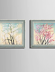 cheap -E-HOME® Framed Canvas Art, Full Tree Flowers Framed Canvas Print Set Of 2