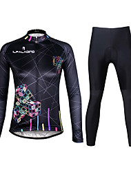 cheap -ILPALADINO Women's Long Sleeves Cycling Jersey with Tights - Black Bike Clothing Suits, 3D Pad, Quick Dry, Ultraviolet Resistant,
