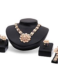 Da donna Set di gioielli Floreale Fiori Di tendenza Fantasia floreale Strass Placcato in oro Lega A forma di fiore Collane Orecchini