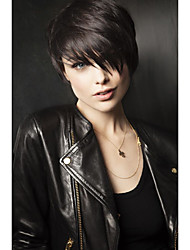 cheap -kinky straight Short Straight Natural Wave Pixie Cut With Bangs Capless Human Hair Wigs Side Part Short Natural Black Medium Auburn
