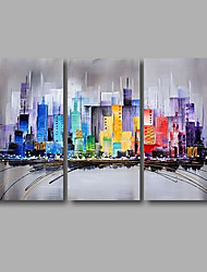 cheap -Stretched (Ready to hang) Hand-Painted Oil Painting 120cmx80cm Canvas Wall Art Modern Building City
