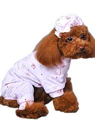 abordables -Chat Chien Combinaison-pantalon Pyjamas Vêtements pour Chien Bande dessinée Jaune Bleu Rose Coton Costume Pour les animaux domestiques