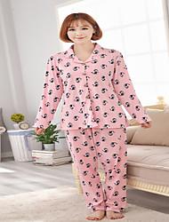 Недорогие -женский хлопок пижама картонной печати симпатичный набор из двух частей пижамы