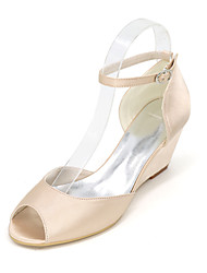 cheap -Women's Shoes Satin Spring / Summer Basic Pump Wedding Shoes Null Wedge Heel Peep Toe Null Hollow-out Blue / Champagne / Ivory