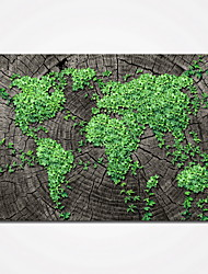 cheap -Stretched Green Leaves Map Picture Canvas Prints Modern Wall Art for Livingroom Decoration Ready to Hang